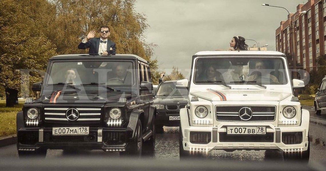 Аренда Гелендвагена для кортежа на свадьбу - белый, черный внедорожник в СПб